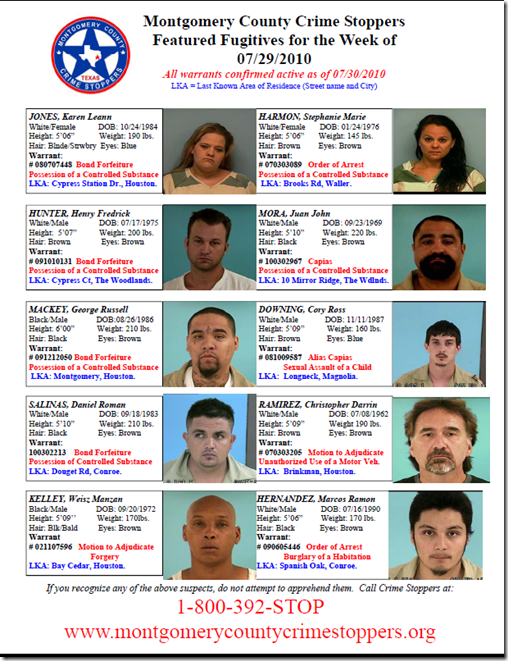 MONTGOMERY COUNTY CRIME STOPPERS FEATURED FUGITIVES FOR THE WEEK OF JULY 29, 2010