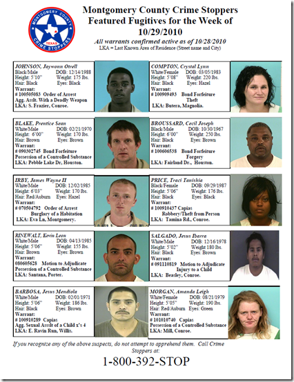 Montgomery County Crime Stoppers Featured Fugitives for the Week of 10/29/2010