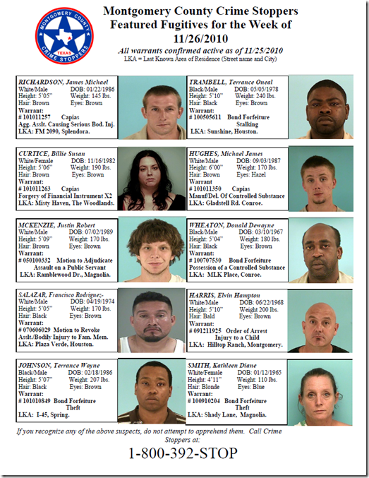 MONTGOMERY COUNTY MOST WANTED FOR 11-25-10