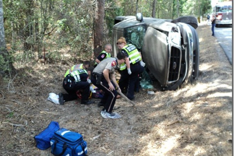 ONE INJURED IN ROLL OVER ACCIDENT ON GULF COAST ROAD