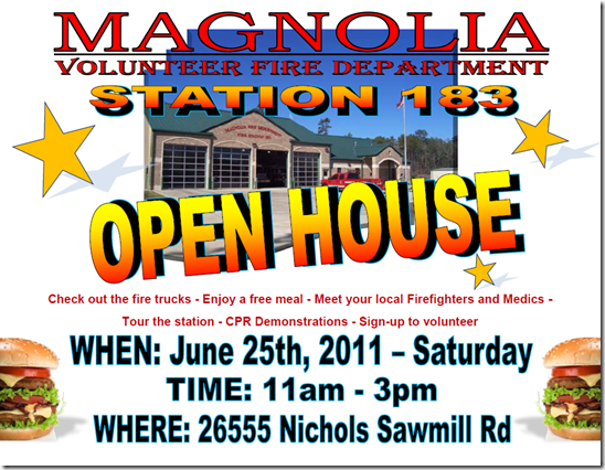 MAGNOLIA FD OPEN HOUSE TODAY-SHOW YOUR SUPPORT