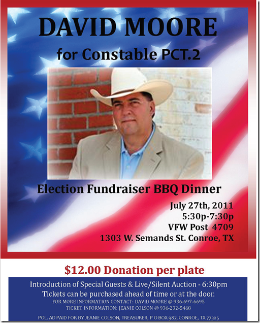 david moore for constable fundraiser tonight