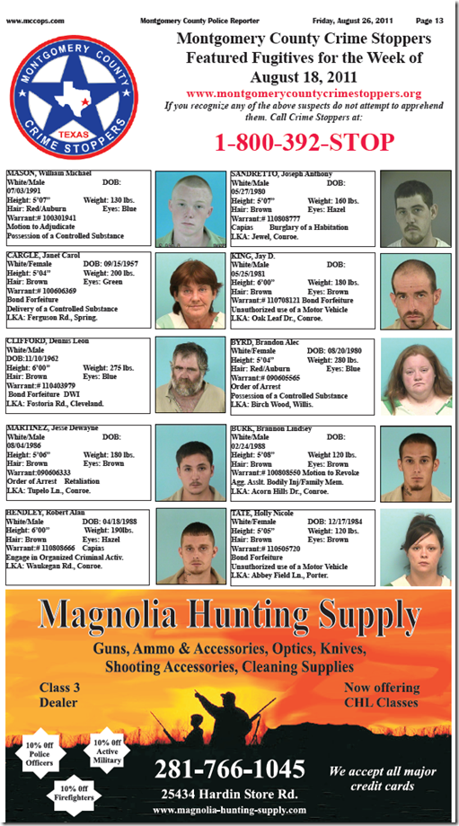 montgomery county featured fugitives for august 18, 2011