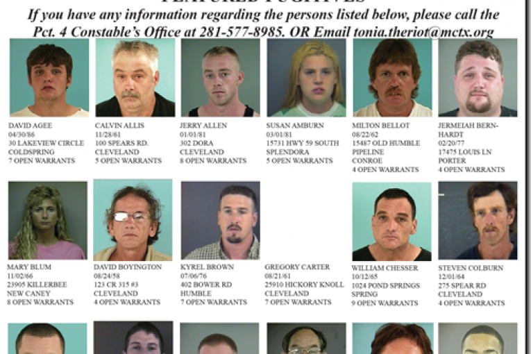 montgomery county precinct 4 featured fugitives for august 3, 2011