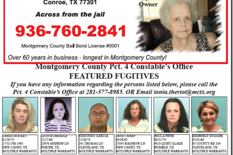MONTGOMERY COUNTY PRECINCT 4 FEATURED FUGITIVES FOR DECEMBER 2, 2011