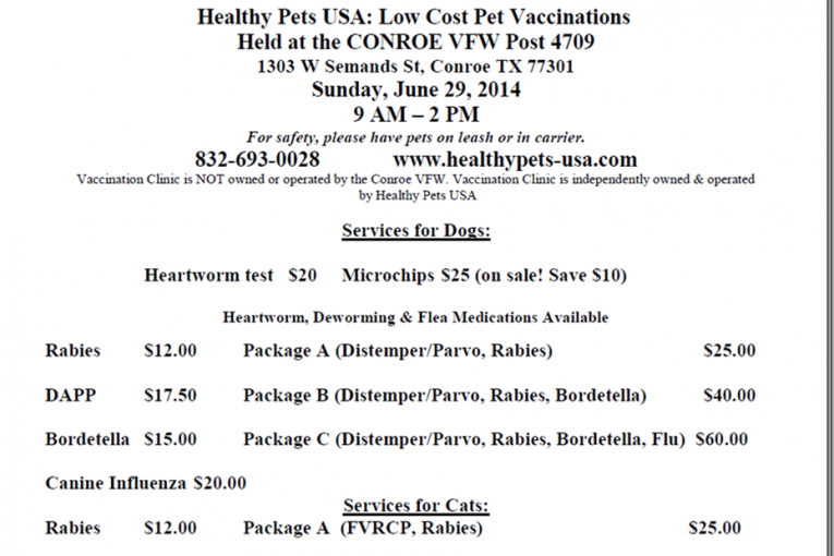 LOW COST PET CLINIC TODAY IN CONROE