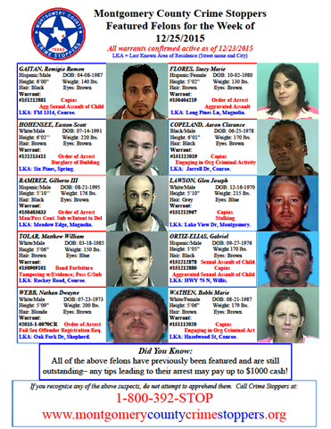 Crime Stoppers Featured Felons 12.25.15