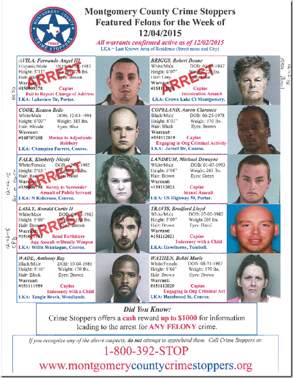 CRIME STOPPERS FEATURED FELONS 12.04.15 (UPDATED)