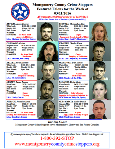 Crime Stoppers Featured Felons 3.11.16