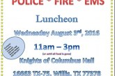 HONORING POLICE, FIRE & EMS – NEXT WEDNESDAY