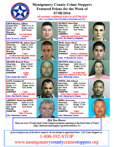 CRIME STOPPERS FEATURED FELONS 07.08.16