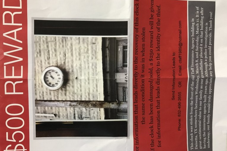 REWARD OFFERED FOR STOLEN PIECE OF TOWN'S HISTORY