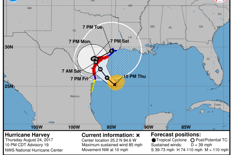NWS: MIDNIGHT UPDATE – HURRICANE HARVEY NOW A CAT 2