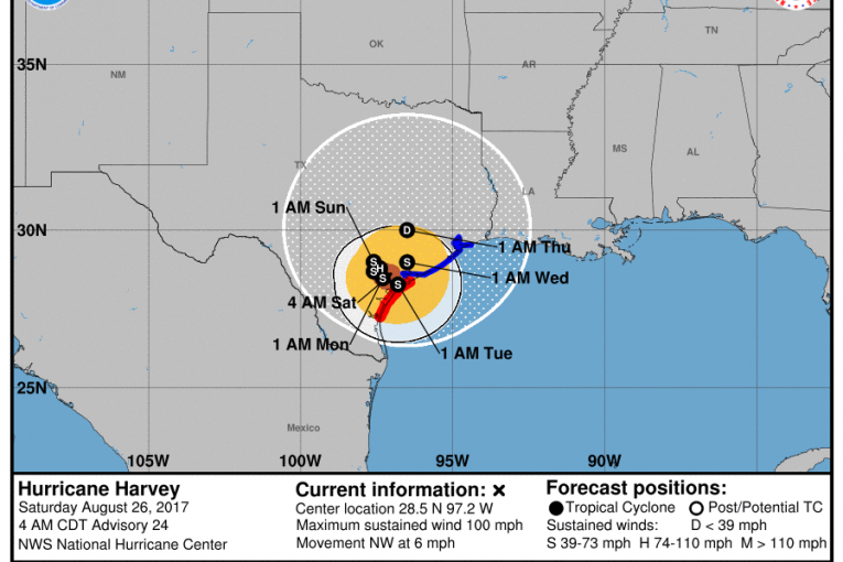 NWS Hurricane Harvey Local Update / Advisory 4:44 a.m.