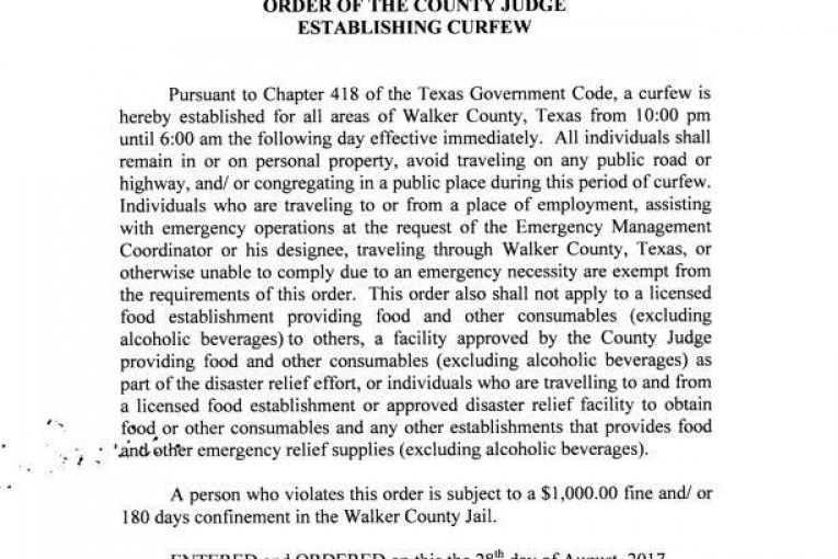 WALKER COUNTY ESTABLISHES CURFEW