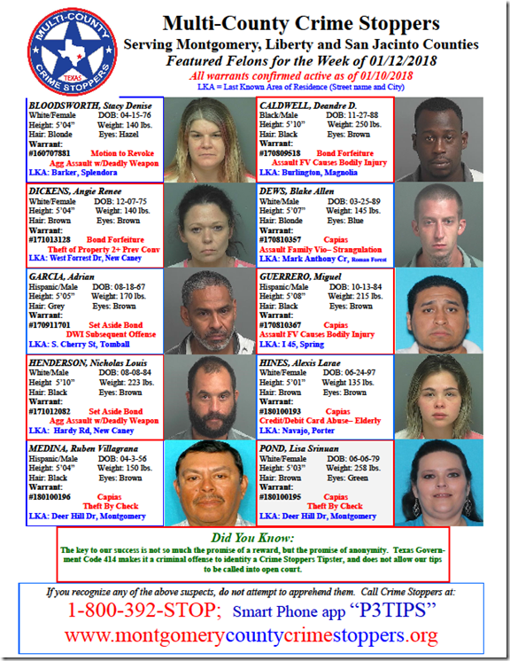 CRIME STOPPERS FEATURED FELONS 01.12.18