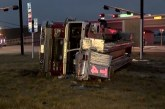 FIREFIGHTERS ESCAPE SERIOUS INJURY AS FIRE TRUCK CRASHES AND ROLLS