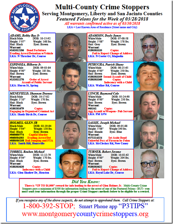 CRIME STOPPERS FEATURED FELONS 3.30.18