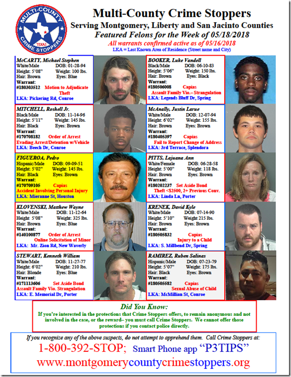 CRIME STOPPERS FEATURED FELONS 05.18.18