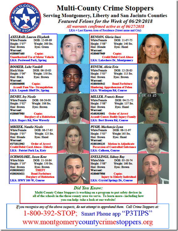 CRIME STOPPERS FEATURED FELONS 06.29.18