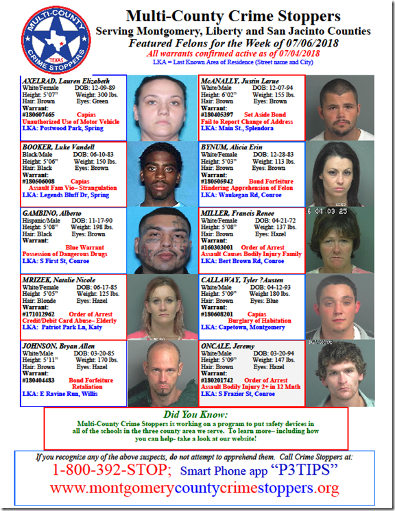 CRIME STOPPERS FEATURED FELONS 07.06.18