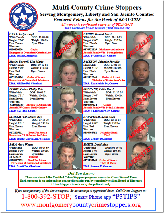 CRIME STOPPERS FEATURED FELONS 8.31.18