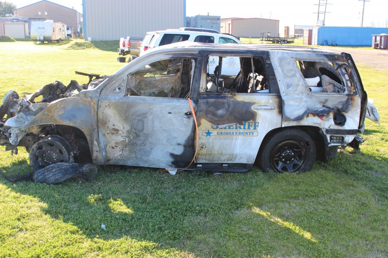 GRIMES COUNTY DEPUTY INJURED IN CRASH AND VEHICLE FIRE