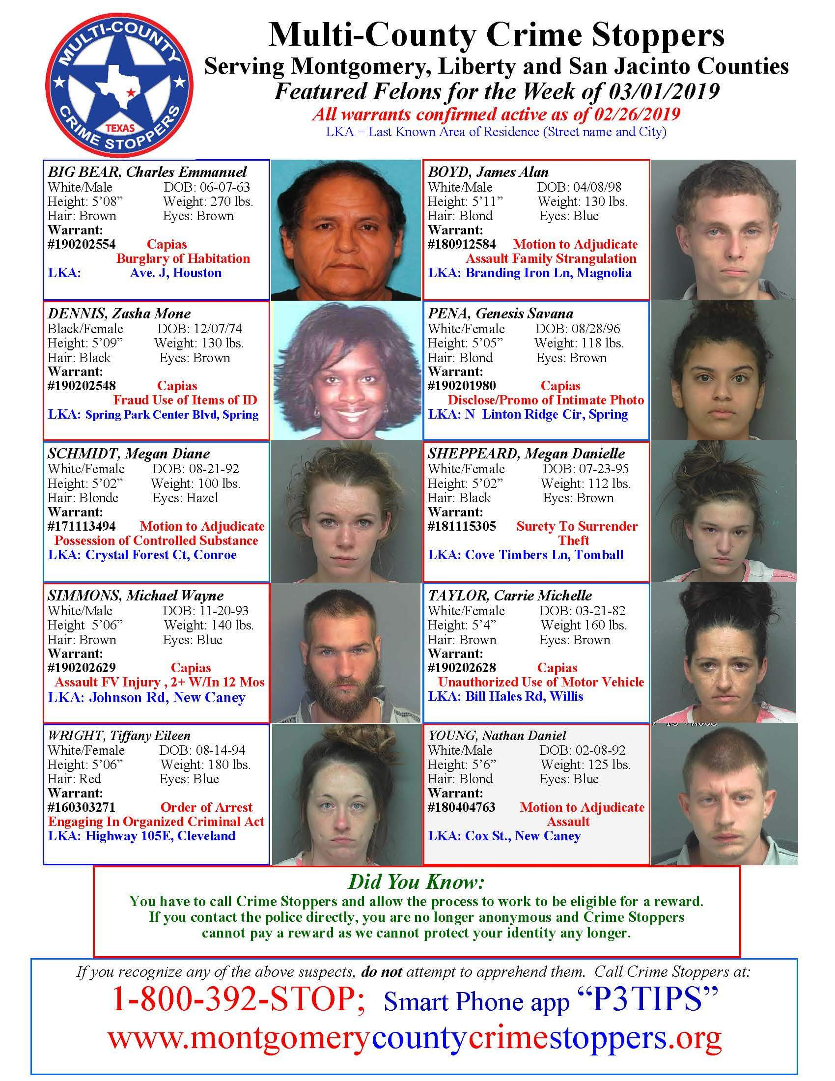 CRIME STOPPERS FEATURED FELONS 03.01.19