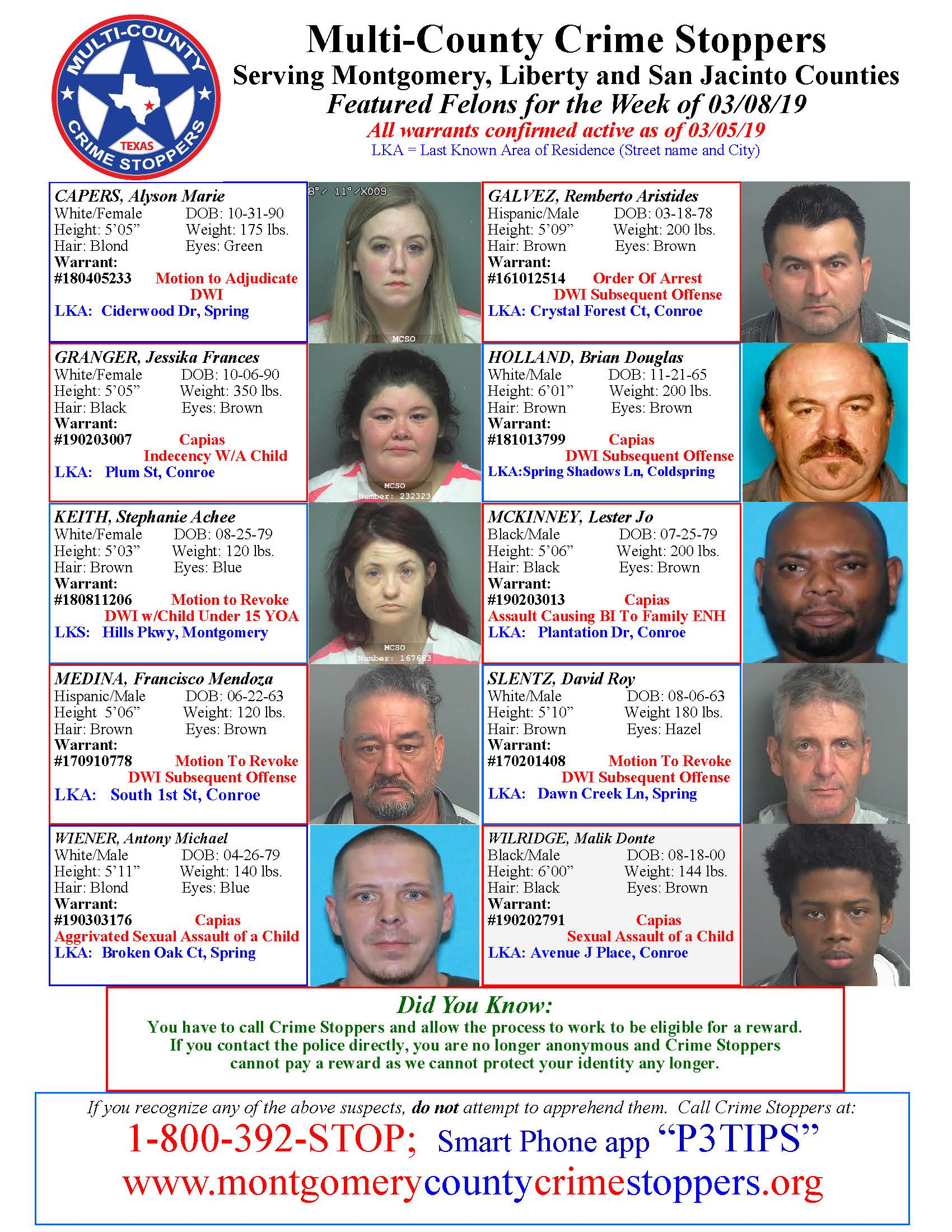 CRIME STOPPERS FEATURED FELONS 03.08.19