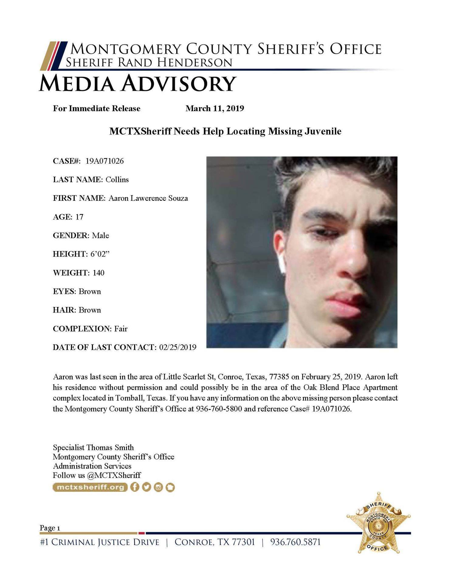 MCSO POSTS MISSING TEEN (FROM MCSO FACEBOOK)