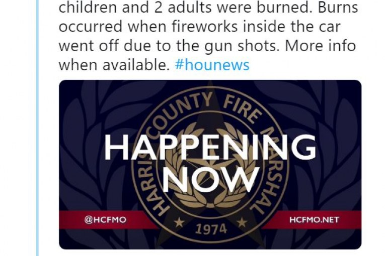 2 kids and 2 adults injured when fireworks go off during road rage shooting in north Harris County