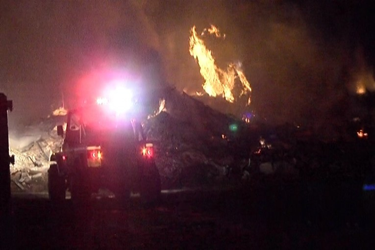 LARGE ILLEGAL BURN IN LIBERTY COUNTY OF SCRAPPED FEMA TRAILERS