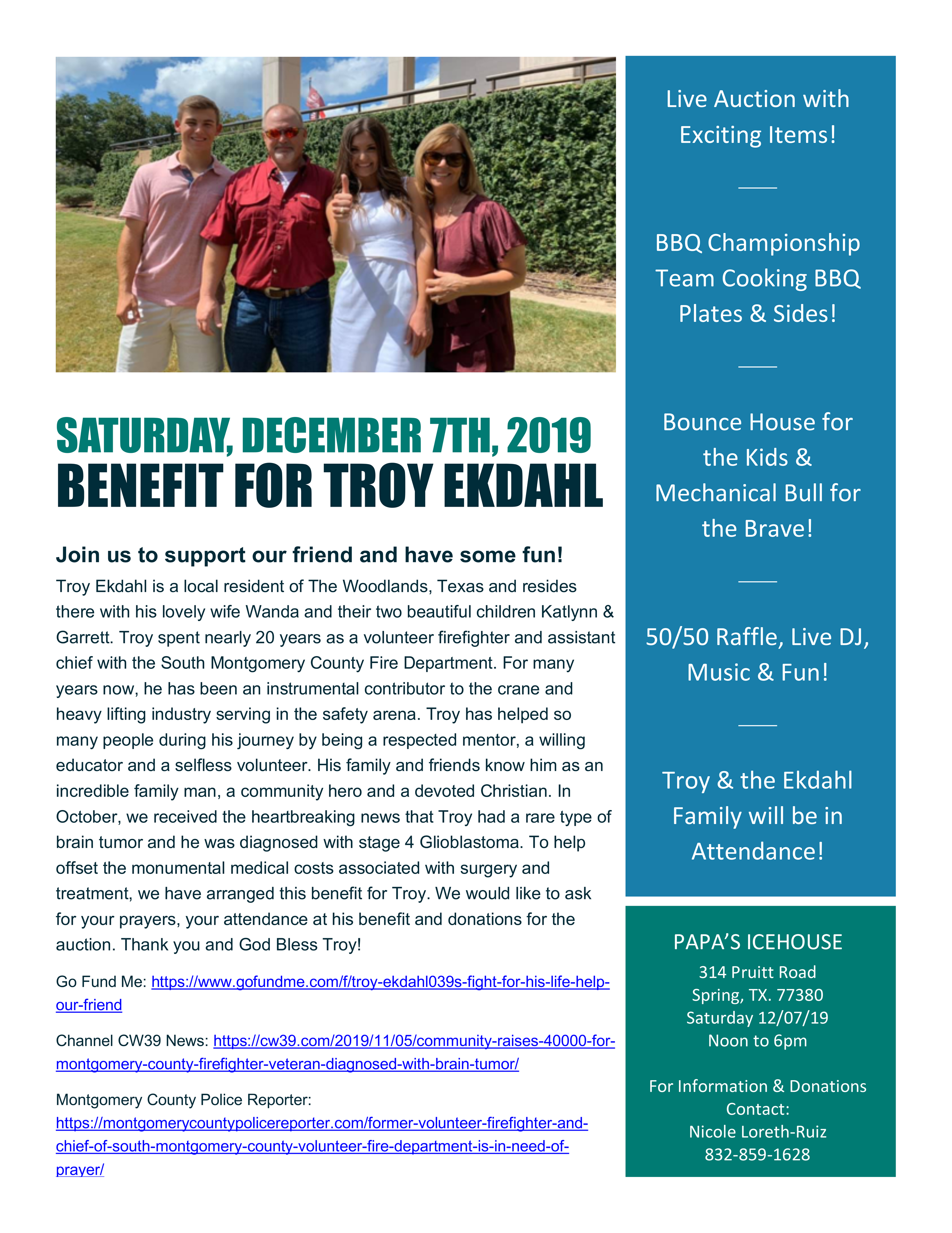 BENEFIT FOR FORMER SOUTH MONTGOMERY COUNTY  ASSISTANT FIRE CHIEF