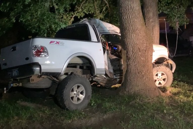 CHILD KILLED WHEN TRUCK SLAMS INTO TREE