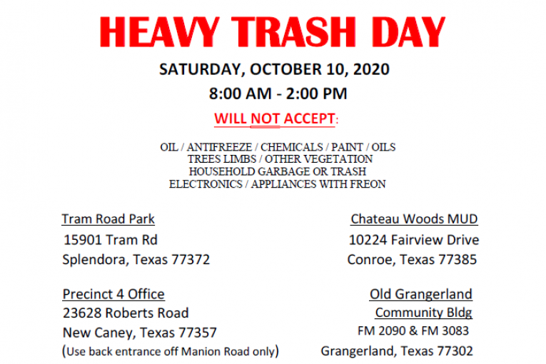 EAST MONTGOMERY COUNTY HEAVY TRASH DAY