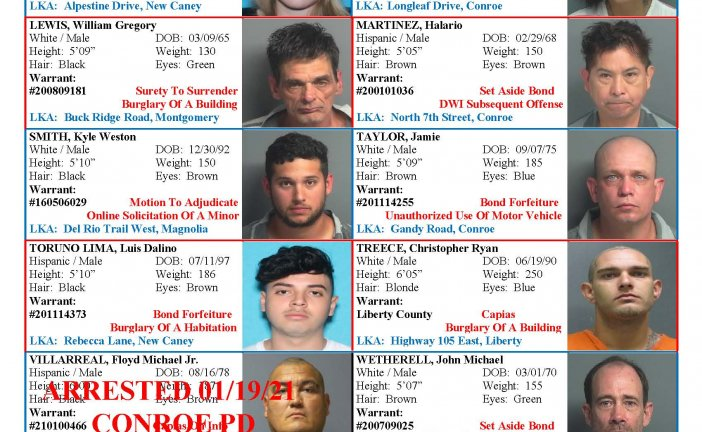MONTGOMERY COUNTY MOST WANTED FOR JANUARY 22, 2021
