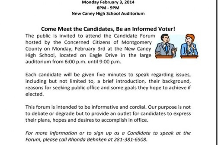 CANDIDATE FORUM NEXT MONDAY