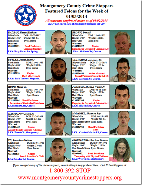 Crime Stoppers Featured Felons 1/3/14