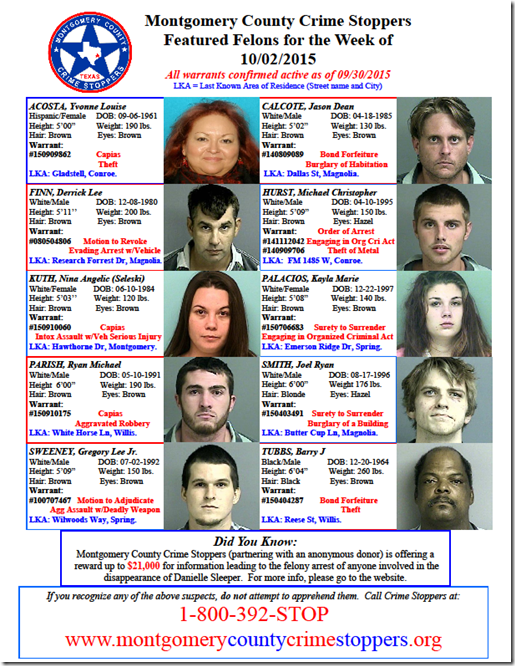 Crime Stoppers Featured Felons 10 02 15 Montgomery