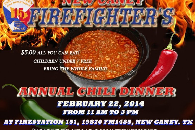 Have chili for lunch tomorrow and support New Caney Firefighters!