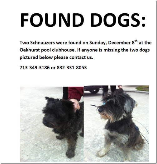 DOGS FOUND AT OAKHURST POOL
