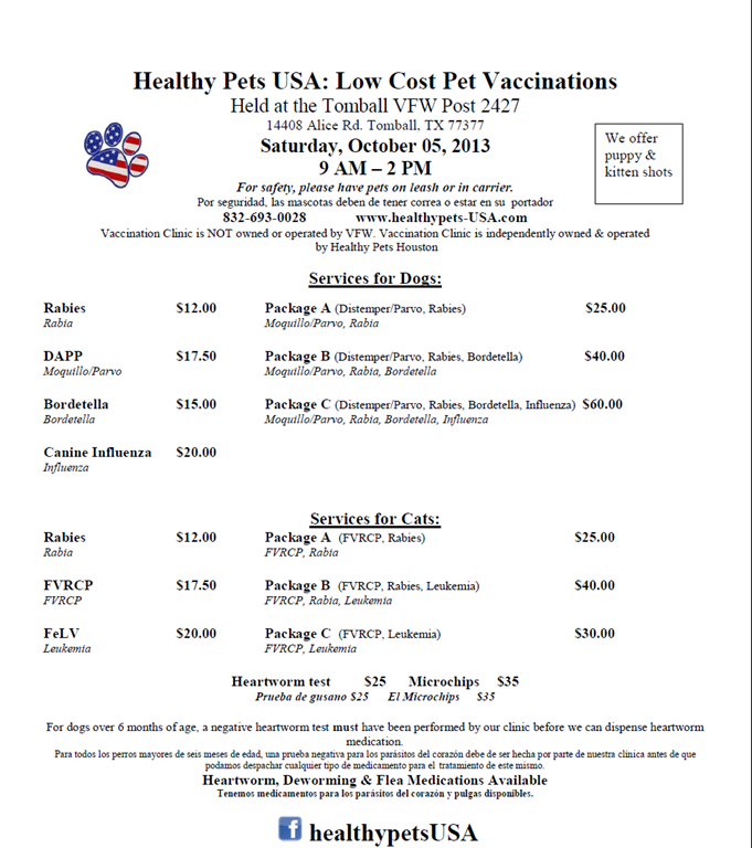 LOW COST PET VACCINATIONS IN TOMBALL —