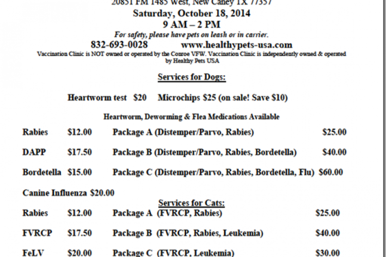 LOW COST PET VACCINES COME TO NEW CANEY SATURDAY