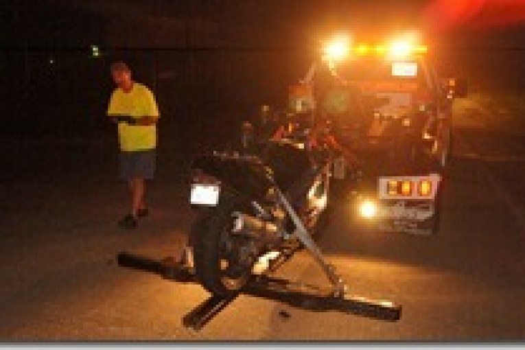 MOTORCYCLE DRIVER GOES TO HOSPITAL-MOST LIKELY JAIL LATER THIS MORNING