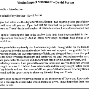 VICTIM IMPACT STATEMENT OF THE LONE SURVIVOR OF THE WRONG WAY DRIVER CRASH U2014