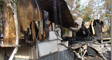 TWO INJURED IN MOBILE HOME FIRE