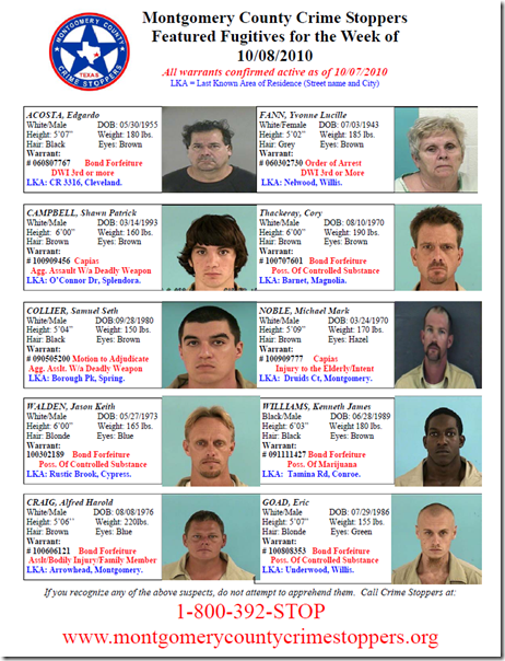 MONTGOMERY COUNTY MOST WANTED FOR OCTOBER 8, 2010