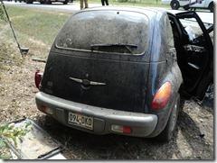 car hits tree and explodes