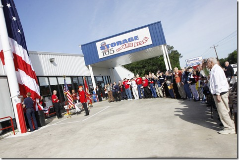 WWII veterans honor the American flag at Storage 105.