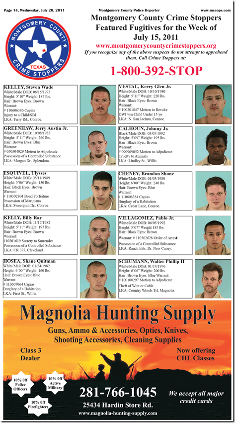 MONTGOMERY COUNTY FEATURED FUGITIVES
